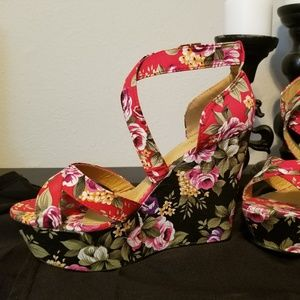 Black and red floral new high wedge sandals
